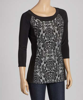 Black & Grey Filigree Three-Quarter Sleeve Top