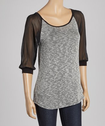 Black & Gray Three-Quarter Sleeve Top