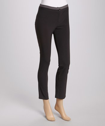 Black & Silver Straight-Leg Pants