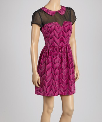 Magenta & Black Zigzag Dress