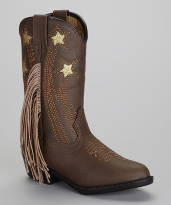 Brown Fringe Texas Star Boot - Kids
