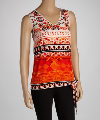 Red & White Knot-Tie Tank