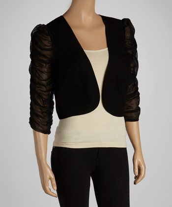 Black Ruffle-Sleeve Shrug