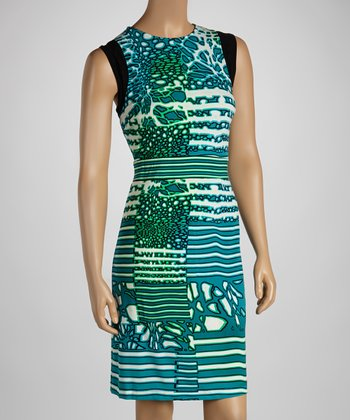 White & Teal Coral Reef Sleeveless Dress