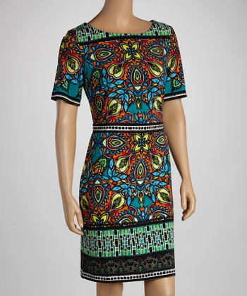 Blue & Orange Garden Shift Dress