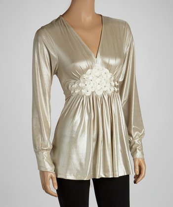 Gold Embellished Empire-Waist Dress