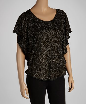 Black & Gold Glitter Cape-Sleeve Top