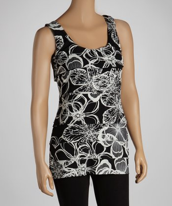 Black & White Floral Sleeveless Top