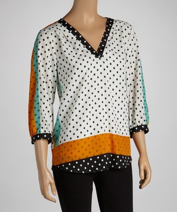 Black & Orange Polka Dot Three-Quarter Sleeve Top