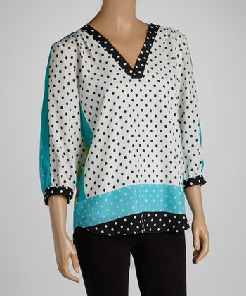 Black & Blue Polka Dot Three-Quarter Sleeve Top