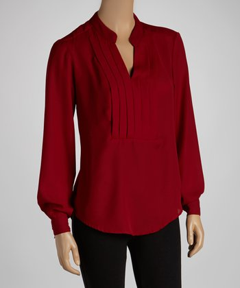 Burgundy Long-Sleeve Top