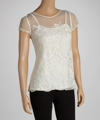 Ivory Floral Lace Sheer Top