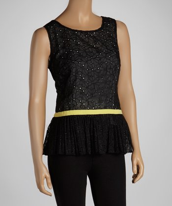Black & Yellow Lace Peplum Top
