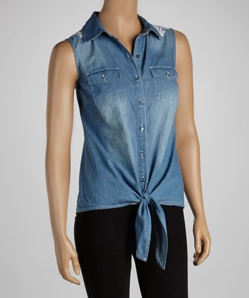 Blue Embroidered Denim Sleeveless Button-Up