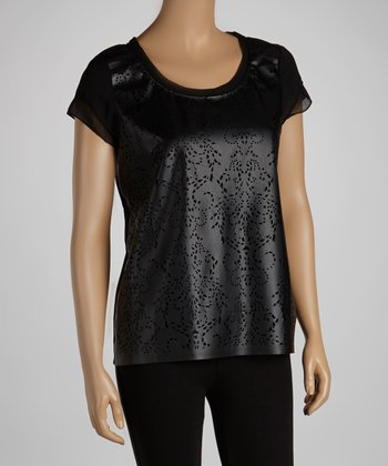 Black Perforated Short-Sleeve Top