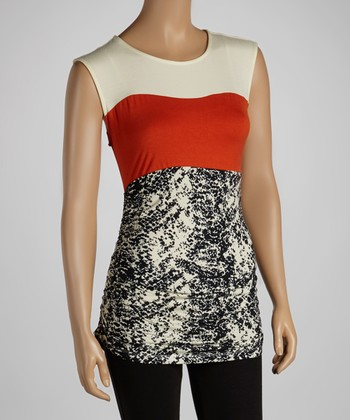 Cream & Orange Snakeskin Sleeveless Top