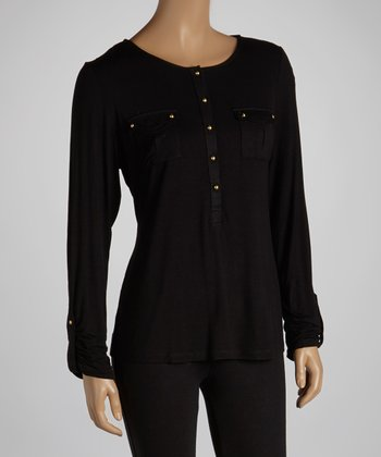 Black Pocket Button-Up Top