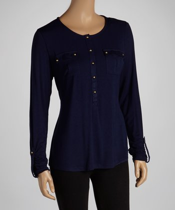 Navy Pocket Button-Up Top