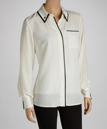 Ivory & Black Contrast Button-Up