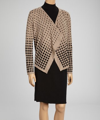 Black Dress & Camel Polka Dot Open Cardigan - Women & Plus
