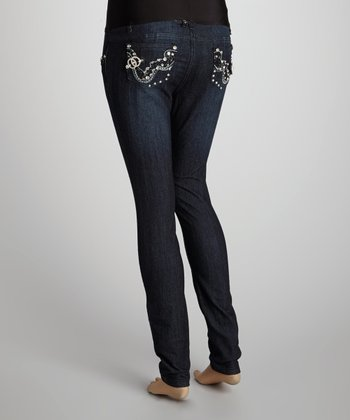 Blue Rhinestone Over-Belly Maternity Jeans