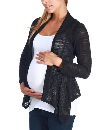 Black Knit Maternity Open Cardigan