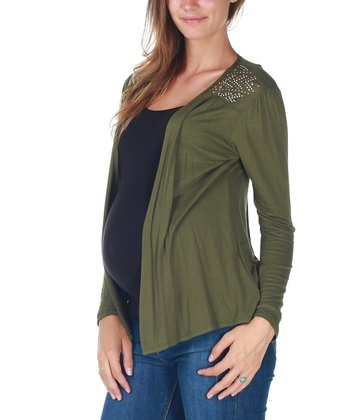 Green Studded Maternity Open Cardigan