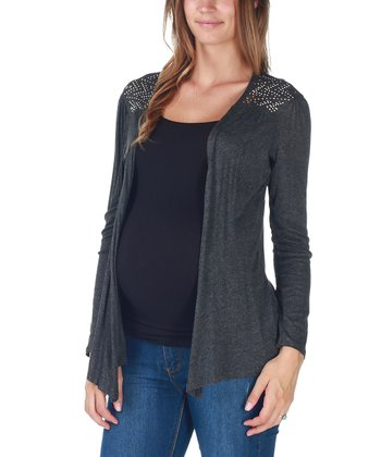 Charcoal Studded Maternity Open Cardigan