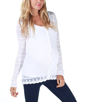 White Lace Accent Maternity Cardigan - Women