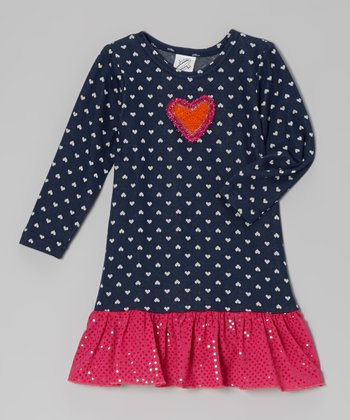 Denim Blue & Pink Heart Ruffle Dress - Toddler & Girls