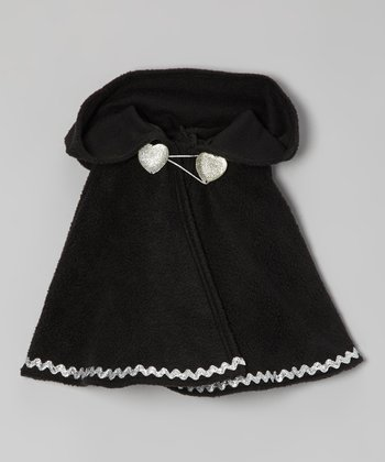 Black & Silver Rickrack Hooded Poncho - Toddler