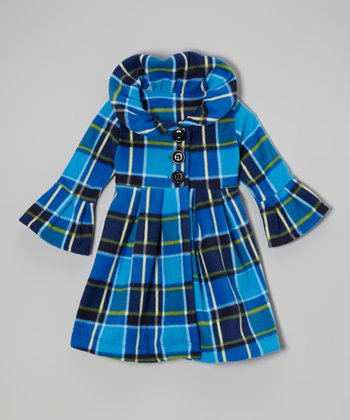 Blue Multi Plaid Swing Coat - Toddler & Girls