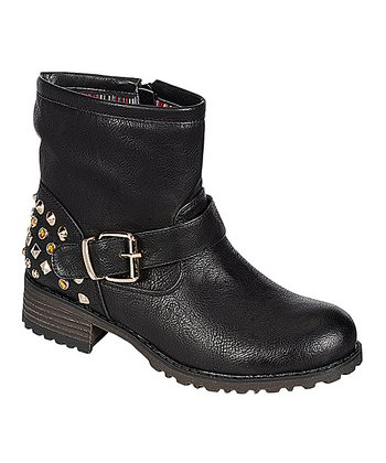 Black Shimmer Studded Jayda Ankle Boot