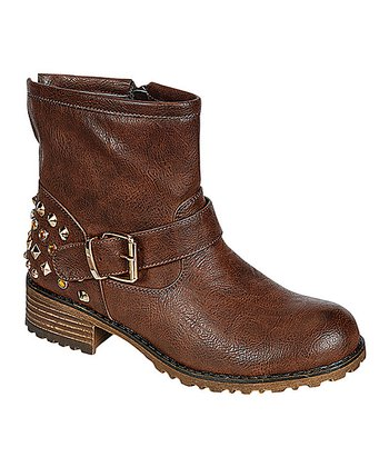 Brown Shimmer Studded Jayda Ankle Boot