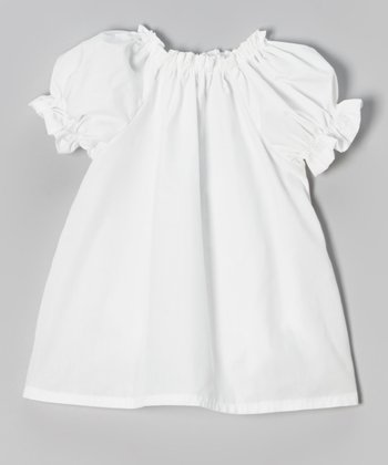 White Short-Sleeve Peasant Top - Infant, Toddler & Girls