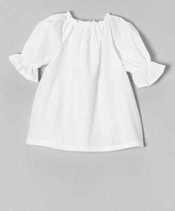 White Three-Quarter Sleeve Peasant Top - Infant, Toddler & Girls