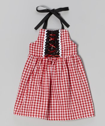 Red Checkerboard Corset Dress - Infant, Toddler & Girls
