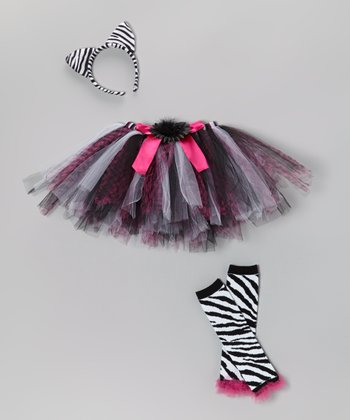 Black & Pink Zebra Tutu Set - Toddler & Girls
