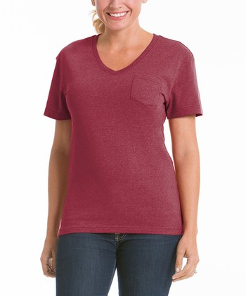 Pomegranate Pocket V-Neck Tee - Women