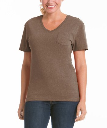 Camel V-Neck Pocket Tee - Women