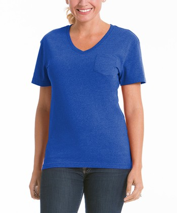 Royal Blue Pocket V-Neck Tee - Women