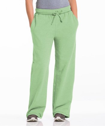 Pistachio Three-Pocket Fleece Lounge Pants - Women