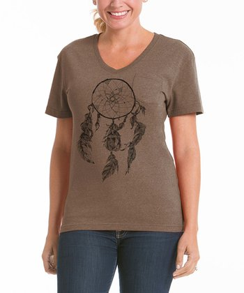 Camel Dream Catcher V-Neck Pocket Tee