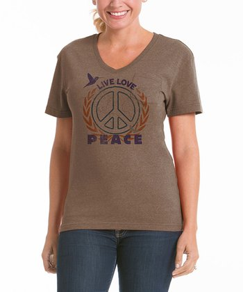 Camel 'Peace' V-Neck Pocket Tee