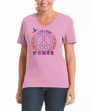 Cotton Candy 'Peace' V-Neck Pocket Tee