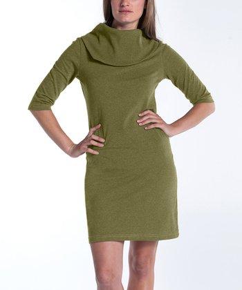 lur® Olive Lily Cowl Neck Dress - Women