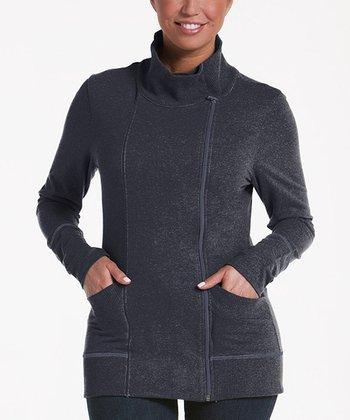 lur® Charcoal Balsam Asymmetrical Zip Sweater - Women