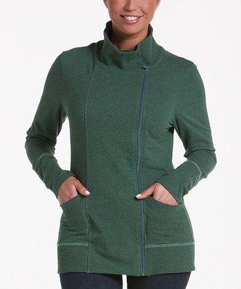 lur® Moss Balsam Asymmetrical Zip Sweater - Women