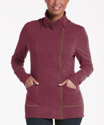 lur® Merlot Balsam Asymmetrical Zip Sweater - Women