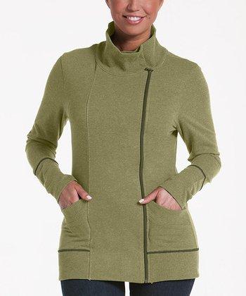 lur® Olive Balsam Asymmetrical Zip Sweater - Women